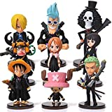 9 pz/set Anime One Piece Cappello di Paglia Pirati Rufy Zoro Tony Tony Chopper Action Figures Carino Mini Figure Bambole Giocattolo Modello Squisito Collezione Giocattoli Pvc 5-7 Cm