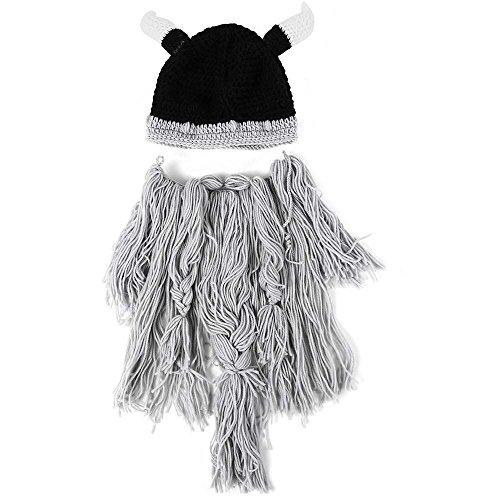 Adulte Hiver chaud Masque Chapeau Viking Barbe Bonnet Corne Chapeau tricoté en laine Funny Tête de mort Casquette Taille unique Lgray