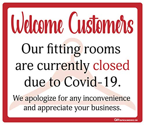 'Fitting Rooms Closed' COVID-19 (Coronavirus) Durable Vinyl Decal- (Various Sizes Available) Sign by Graphical Warehouse- Safety and Security Signage, Visual Communication Tool (11.25x9.64', Red)