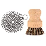 GAINWELL Stainless Steel Chainmail Scrubber Set Cast Iron Cleaner 4in with Wood Scrub Cleaning...