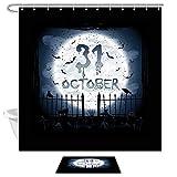 JoneAJ Halloween Duschvorhang Fußmatte Kit Hexe Illusion auf Trippy Gothic Bühne 71x71 Zoll Stoff Bad Vorhang Set mit 40x60cm Flanell rutschfeste Fußmatte