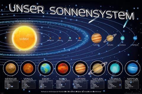 Educational - Bildung - Unser Sonnensystem - Poster - Größe 91,5x61 cm + 1 Ü-Poster der Grösse 61x91,5cm