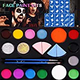 Face Paint Kits for Kids, 30 Jumbo Stencils, 14-Color Paints, 2 Glitters, 2 Brushes, Face Paint Makeup Palette for Halloween, Cosplay, Parties & Art, Body Paints for Adults, Safe for Sensitive Skin