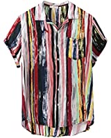 Men's Casual Shirts Summer Short Sleeve Colorful Stripes Printed T-Shirts Tops with Pocket (Multicolor, XXL)
