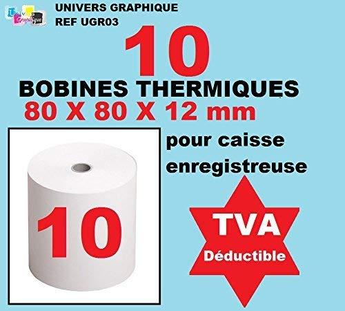Bobine Thermique - 80x80x12 - Paquet De 10 pour rouleau pour caisse et imprimante thermique