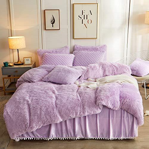 LIFEREVO Luxury Plush Shaggy Duvet Cover Set (1 Faux Fur Duvet Cover + 2 Pompoms Fringe Pillow Shams) Solid, Zipper Closure (Queen, Orchid)