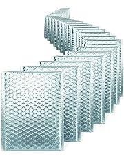 Switory 25 szt. A5 15,2 cm x 22,9 cm metaliczne Boże Narodzenie z klasą bąbelkową koperty samoprzylepne CD wyściełane koperty metaliczne jasny lodowy niebieski