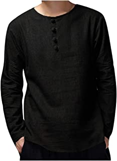 Men's Solid Color Button Crew Neck Long Sleeve Top Blouse Plus Size Casual Pullover T-Shirts