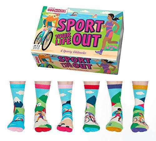 Sport Your Life Out – United Oddsocks – Damen Box mit 6 Oddsocks – UK 4–8 EUR 37–42 US 6,5–10,5