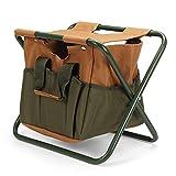 Sillas plegables al aire libre plegable silla de camping jardín picnic pesca asiento al aire libre bolsa de almacenamiento para viajes pesca playa (tamaño único; color: caqui)