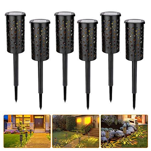 Solarleuchten, GEEDIAR 6 Stück led Gartenleuchten Solar, IP54 Wasserdicht Wegeleuchten Außen Gartenbeleuchtung mit Erdspieß für Terrasse, Rasen, Garten, Wege