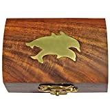 ITOS365 Handmade Wooden Small Jewelry Box Wood Ring Storage Case for Women Dolphin Charm Décor Gifts Ideas