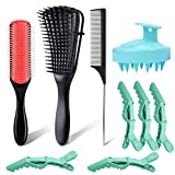 Detangling Brush Set for Curly Hair, Detangler Hair Brush with 9 Row Cushion Nylon Bristle, Shampoo Brush Scalp Massager, Rat Tail Comb Styling Brush Set Include 5 Hair Clips for Women Men Kids Wavy Natural Thick Thin Wet Dry Hair