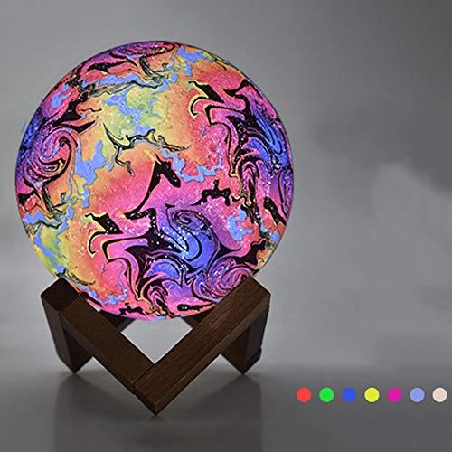 Yangsanjin maanlamp, 3D, nachtlampje, LED, maan, touchscreen, 7 kleuren, bedlampje, maanlicht, met USB, oplaadbaar, voor slaapkamer, woonkamer, café, verjaardag, Kerstmis