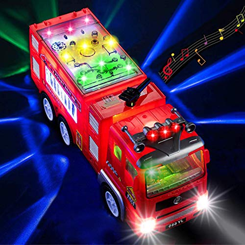 HUANDATONG Electric Fire Truck Toys for 2-12 Year Old Boys,3D Lightning firetrucks for Boys Toys for 3-11 Year Old Boys Gifts for 2-12 Year Old Boys