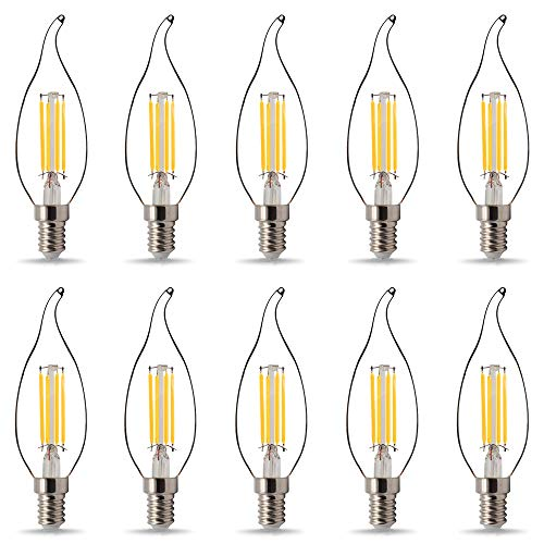 Tianfan LED-Leuchtmittel, C35/G45, Kerzenform, 220 V/240 V, 4 W, Edison-Glühbirne (C35 E14), 10 Stück