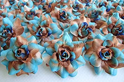 """(50) Silk Soft Blue Brown Roses Flower Head - 1.75"""" - Artificial Flowers Heads Fabric Floral Supplies Wholesale Lot for Wedding Flowers Accessories Make Bridal Hair Clips Headbands Dress"""
