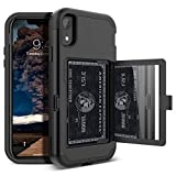 iPhone XR Wallet Case - WeLoveCase Defender Wallet Design with Card Holder and Hidden Back Mirror Three Layer Heavy Duty Protection Shockproof All-Round Armor Protective Case for iPhone XR - Black