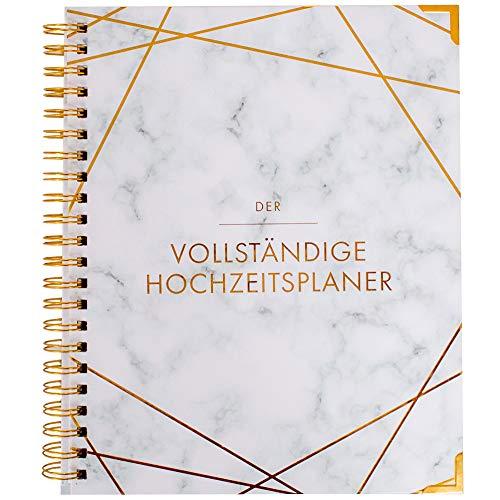 Agenda de boda en alemán, organizador de libro y boda, calendario de mármol, diseño dorado, planificador de boda