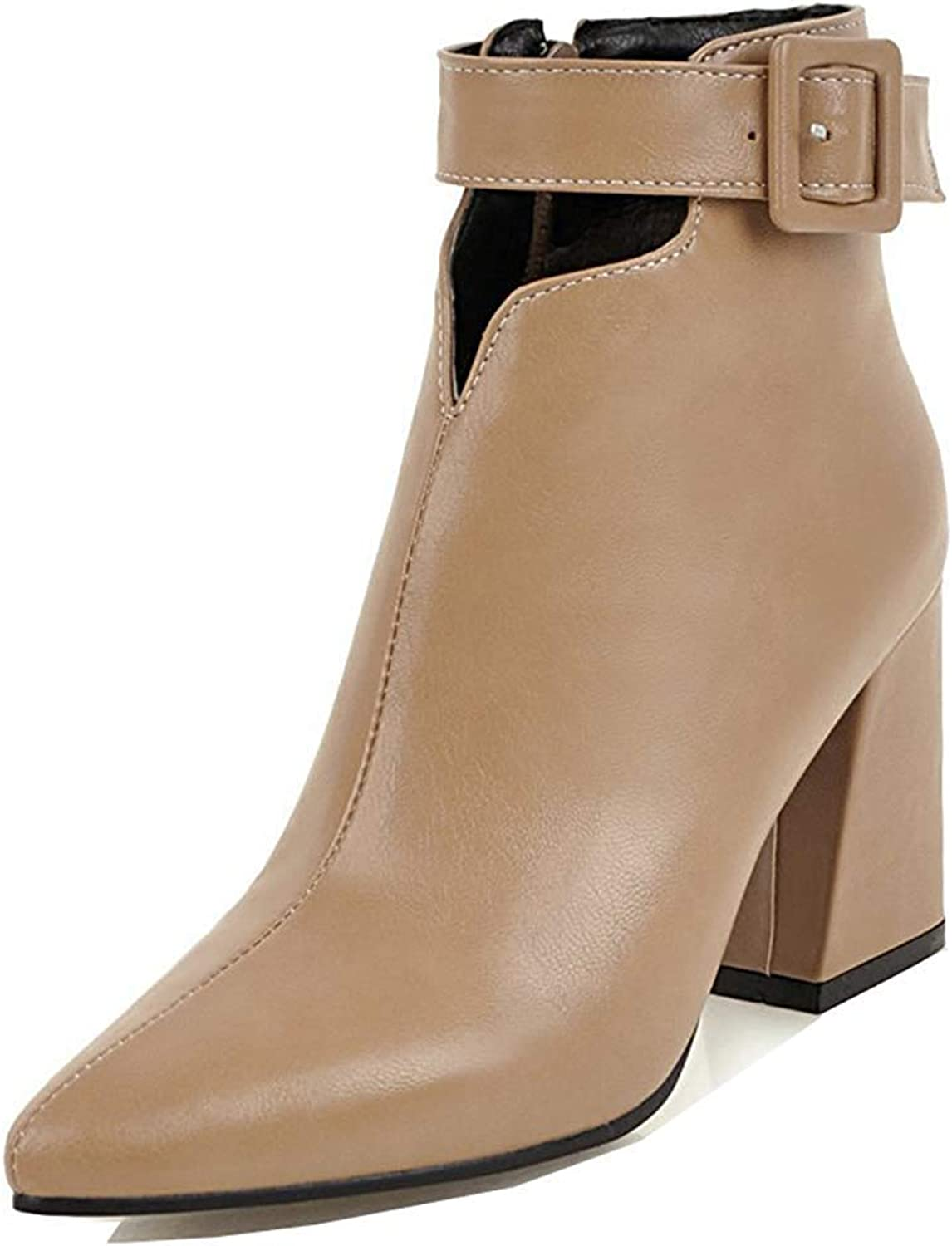 Unm Women's Pointed Toe Short Boots with Zipper - Buckle Strap Inside Zip Up Dressy - Block High Heel Ankle Booties