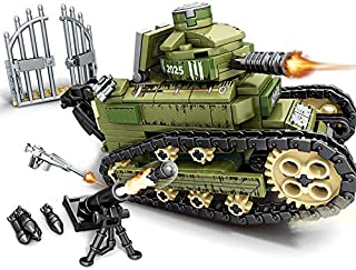 Lingxuinfo Tank Building Kit, 368 Pieces FT-17 Tank Model Military Army Tanks Building Block Set Military Tank Vehicle for Kids and Adults