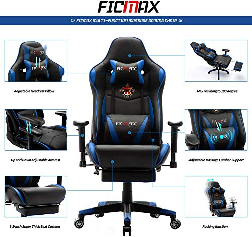 Ficmax Massage Gaming Chair Ergonomic Gamer Chair with Footrest Reclining...