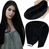 Hetto Full Head 14 Pulgada Remy Pelo Humano Liso y Largo 1 Jet Black Skin Weft Tape in Human Hair Extensions 20Pcs 40Gram Une Paquete