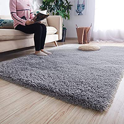 Noahas Super Soft Modern Shag Area Rugs Fluffy Living Room Carpet Comfy Bedroom Home Decorate Floor Kids Playing Mat 6 Feet by 9 Feet, Grey