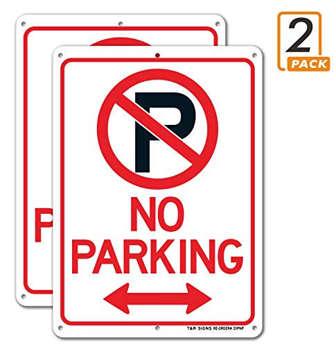 No Parking Sign with Symbol Sign, 2 Pack, 10' x 7' Rust Free .040 Aluminum, UV Protected, Waterproof, Weatherproof and Fade Resistant, 6 Pre-drilled Holes