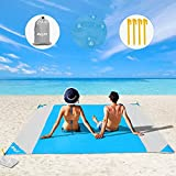 Beach Blanket, OUSPT Sand Free Picnic Outdoor Mat- 79''×83'' - Pocket Zippered Portable Waterproof Soft Fast Drying Oversize Blanket for 4-7 Persons Travel Camping Hiking (Blue)