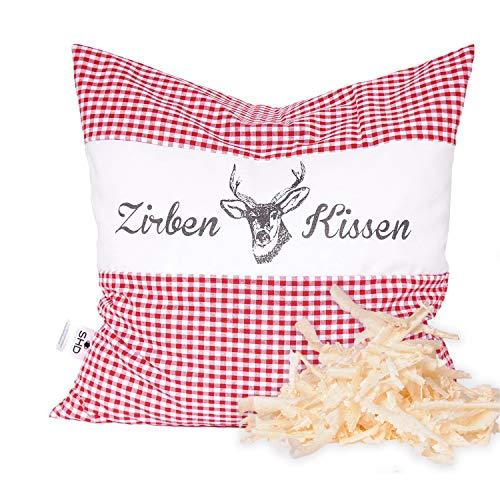 SHD Zirbenkissen Dekokissen mit Zirbenholz Alpen 100% Baumwolle 40x40 cm rot-weiß kariert, Decorative, natürlich duftend, Hirschprint Vichy rot, kariert Geschenk Frauen