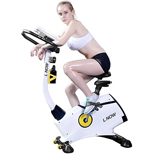 L NOW Indoor Upright Bike Cycling Bike Exercise Bike Stationary D808 with Belt Drive, 8-Level Adjustable Magnetic Resistance, Wide Soft Cushion, LCD Display Smooth and Quiet (808)