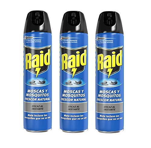 Raid Moscas y Mosquitos - Spray Insecticida, Frescor Natural, 600 ml - Pack de 3 (1800 ml)