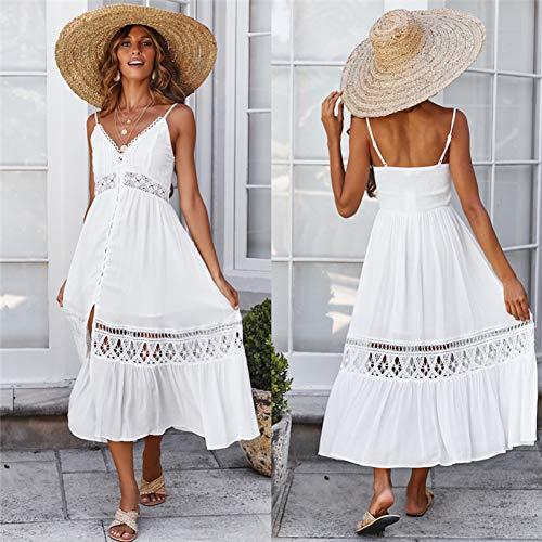 ISKER Badpak White Lace Up Long Dress Vrouwen Zomer Hals uithollen Party Maxi Jurken voor vrouwen Casual strandjurken
