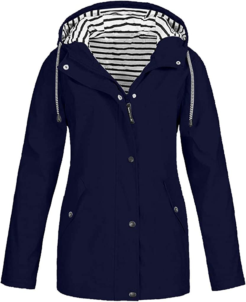 WOCACHI Max 44% OFF Womens Raincoat Plus Size Rain Outdoor Jacket Selling Waterproo
