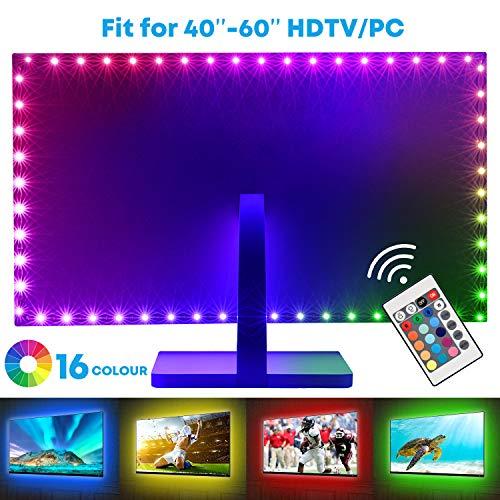 Kohree Led TV Hintergrundbeleuchtung 2M USB Fernbedienung Beleuchtung Fernseher für 40-60 Zoll HDTV,TV-Bildschirm und PC-Monitor,Spieltisch, Led Strip TV Backlight