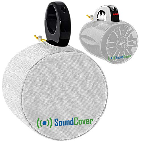 """White Heavy Duty Small Marine Speaker Covers for Round 4"""" and 5"""" Boat Wakeboard Tower Pod Speakers - Fits Boss, Rockville, Kicker, Pyle & NOAM Speakers, Sold in Pairs (Size H 7.9"""" x W 7.9"""" x D 8.3"""")"""