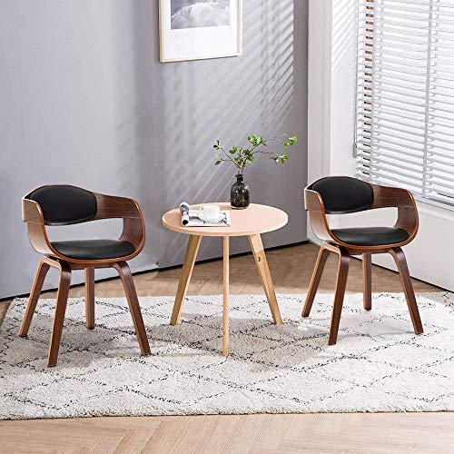 Mingone 2er Set Esszimmerstühle Leif formschöne Designstühle mit Kunstlederbezug(Braun +Schwarz