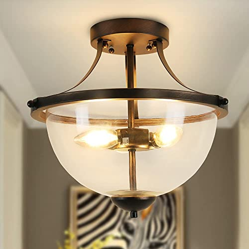 high quality Depuley Industrial Semi discount Flush outlet online sale Mount Ceiling Light, 15 inch Clear Glass Shade Ceiling Light Fixture, 3-Light Farmhouse Lighting for Hallway Foyer Bedroom Kitchen Dining Room, E12 Base, Black online