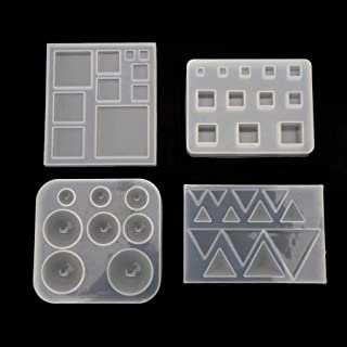 BUZHI Resin Molds for Jewelry,4 Pack Square Round Triangle DIY Geometric Resin Silicone Molds Kit for Casting Epoxy Resin UV Resin