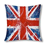Jianyao Vintage British Flag Flag of United Kingdom Union Jack Cushion Case Protector Pillowcase with Zipper 18x18 Inch, Decorative Pillow Cover Home Decor