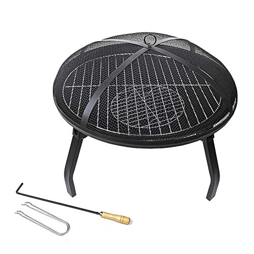 UNA Metal Outdoor Garden Fire Pit with BBQ Grill Heater Outdoor Garden Black Barbeque Metal Brazier Patio Decor Firepit Stove Portable Heat Mesh Cover