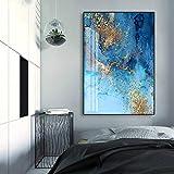 HSFFBHFBH Exquisitos Carteles de Pintura en Lienzo de Oro Azul e Impresiones Cuadros artísticos de Pared para Sala de Estar Dormitorio Oficina Pasillo decoración 40x55cm Marco Interior
