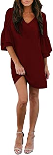 Womens Dress Cute V-Neck Bell Sleeve Shift Dress Mini Tunic Dress Casual Summer