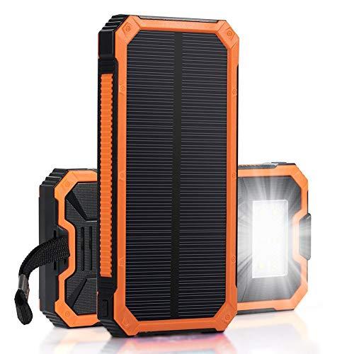 CQ&WL Cargador Solar 15000mAh Portátil Banco de Energía Solar Puertos de...