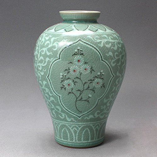 Korean Céladon Vernis-Semi-rond-Grue incrustés et des chrysanthèmes Vert Fleur incrustation décorative en porcelaine céramique Pottery Vase Home Decor Accent