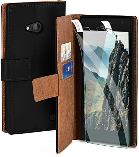 moex Handyhülle für Nokia Lumia 730/735 - Hülle mit Kartenfach, Geldfach & Ständer, Klapphülle, PU Leder Book Hülle & Schutzfolie - Schwarz