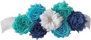 Maternity Satin Ribbon Belt with Flower for Photo Shoot, Floral Baby Shower/Bridal Sash/Wedding Belt, Flower Baby Girls Sash