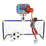 BESISOON Soporte De Baloncesto Equipo De Juguete para Exteriores 2 En 1 para Ni?os, Porter├нa De F├║tbol