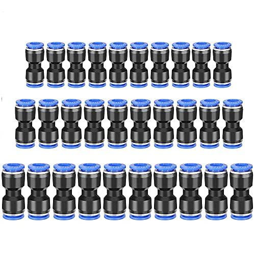 30 Piezas Conectores De Empuje, Ajuste Liberación Neumáticas, Conexión Rápida Neumáticas, Buena Hermeticidad y Resistencia a Altas Presiones, Utilizada Para La Conexión Rápida De Tuberías